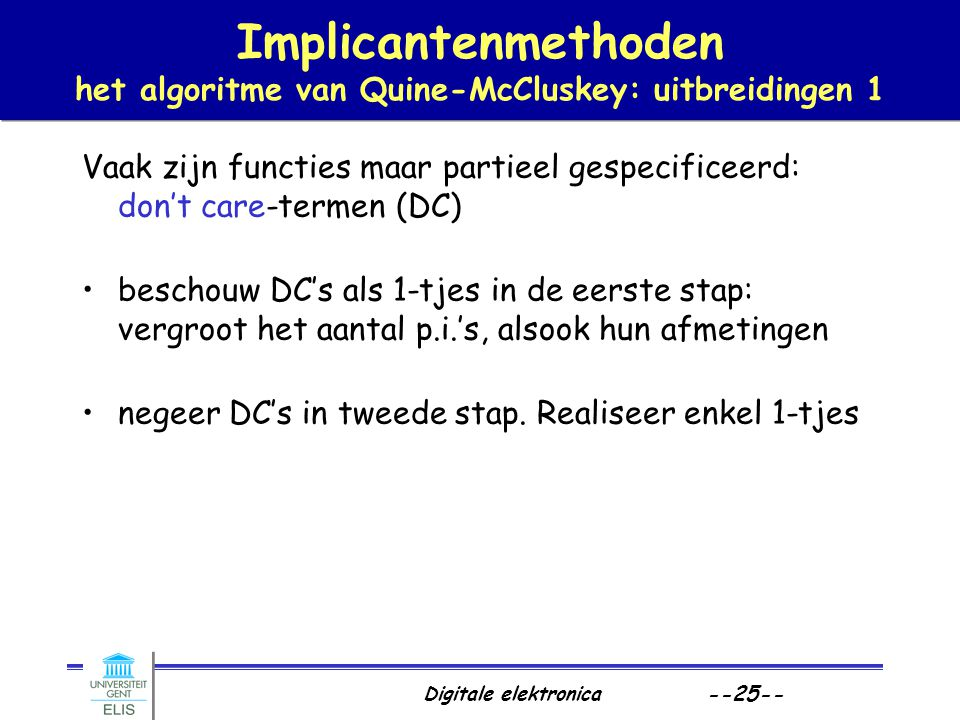 Implicantenmethoden het algoritme van Quine-McCluskey: uitbreidingen 1