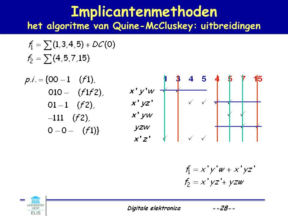 Implicantenmethoden het algoritme van Quine-McCluskey: uitbreidingen