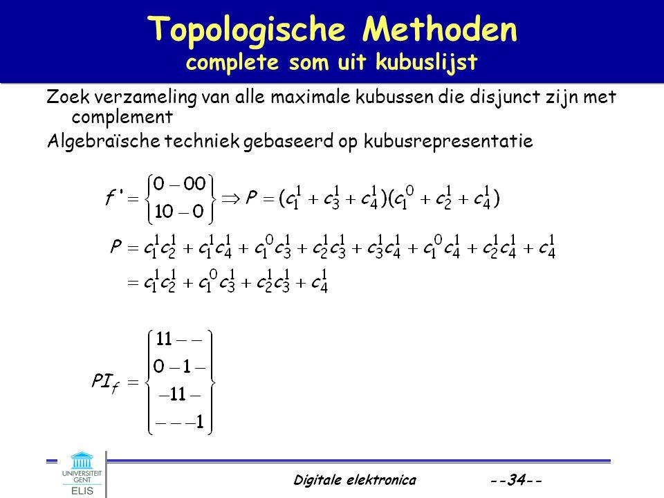 Topologische Methoden complete som uit kubuslijst