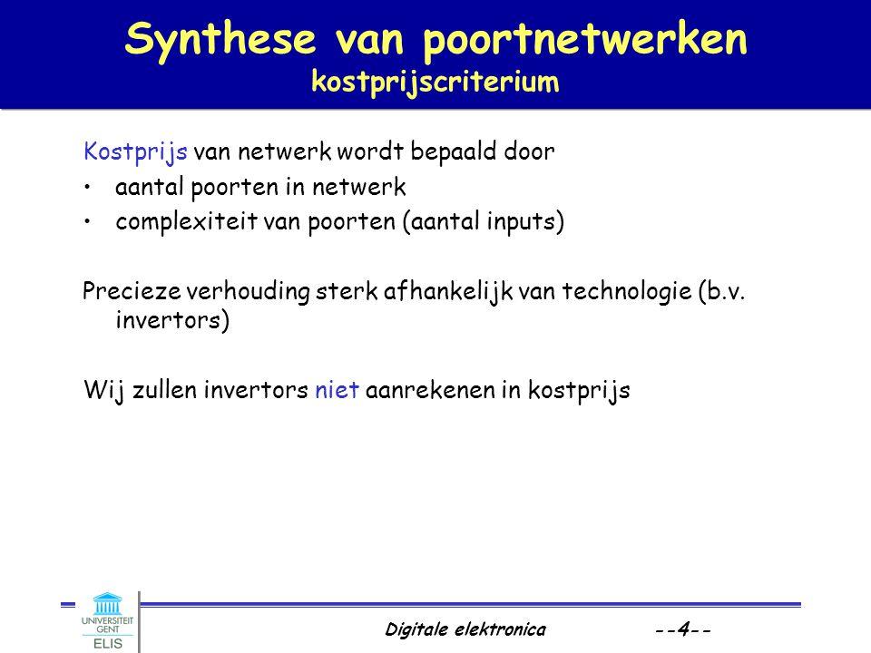 Synthese van poortnetwerken kostprijscriterium
