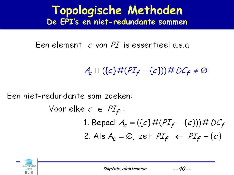 Topologische Methoden De EPI's en niet-redundante sommen