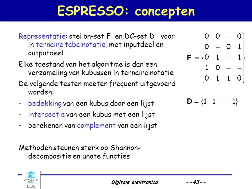 ESPRESSO: concepten Representatie: stel on-set F en DC-set D voor in ternaire tabelnotatie, met inputdeel en outputdeel.