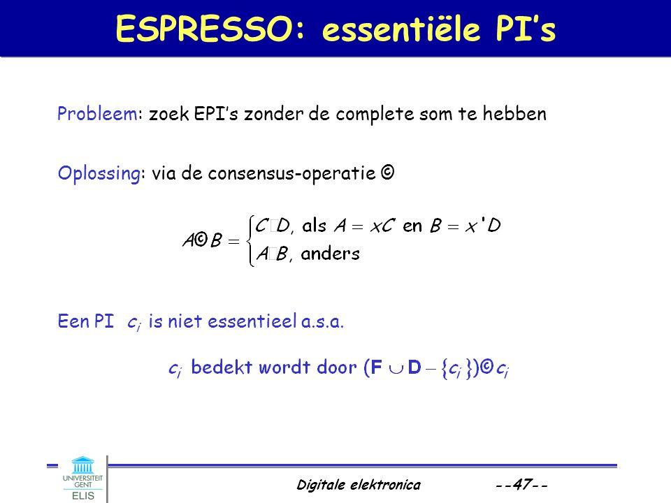 ESPRESSO: essentiële PI's