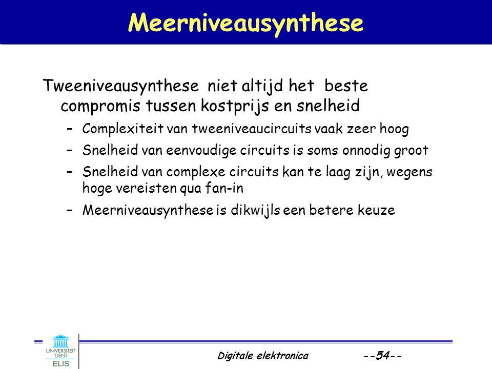 Meerniveausynthese Tweeniveausynthese niet altijd het beste compromis tussen kostprijs en snelheid.