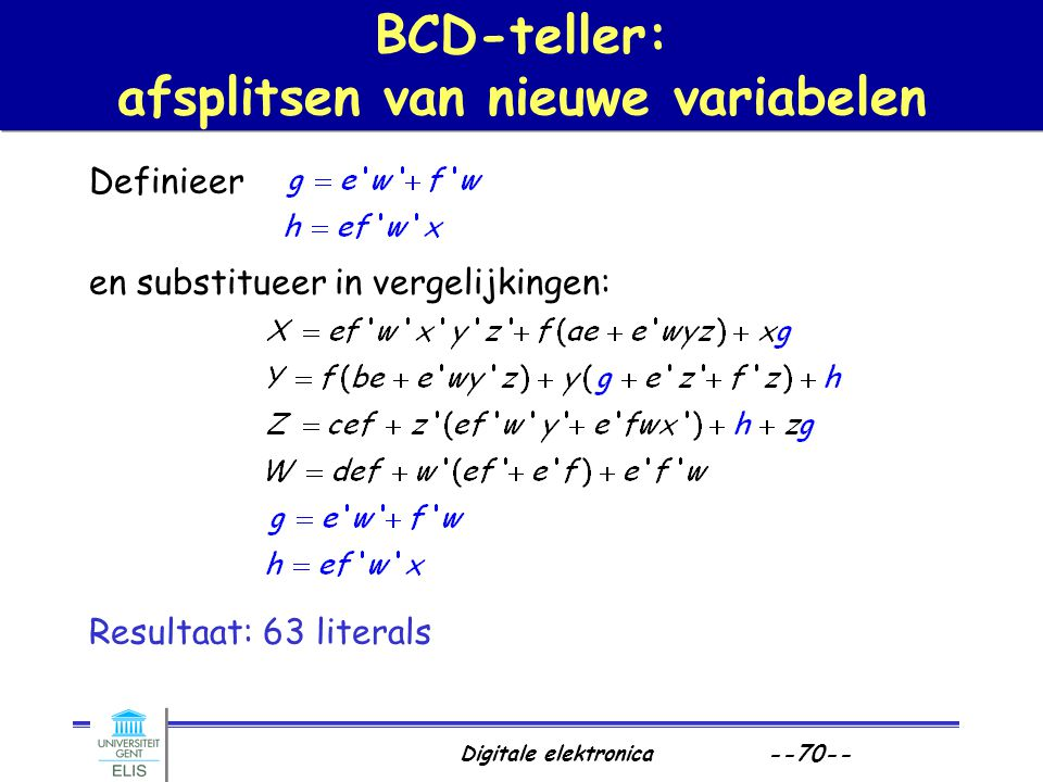 BCD-teller: afsplitsen van nieuwe variabelen