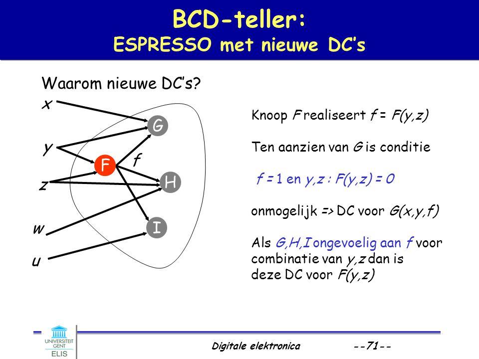 BCD-teller: ESPRESSO met nieuwe DC's