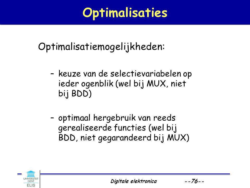 Optimalisaties Optimalisatiemogelijkheden:
