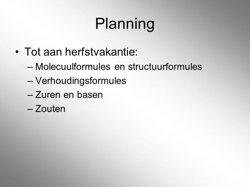 Planning Tot aan herfstvakantie: Molecuulformules en structuurformules