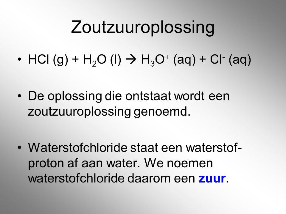 Zoutzuuroplossing HCl (g) + H2O (l)  H3O+ (aq) + Cl- (aq)