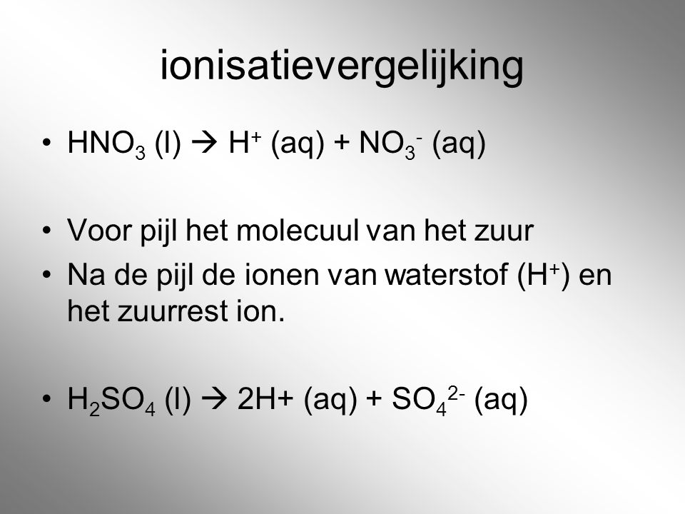 ionisatievergelijking