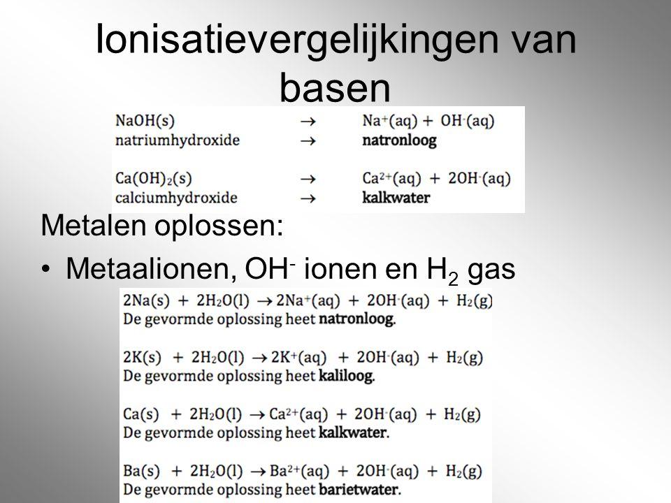 Ionisatievergelijkingen van basen