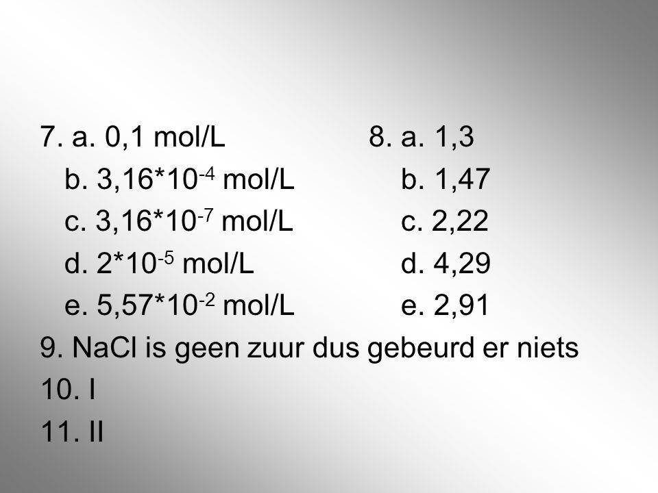 7. a. 0,1 mol/L 8. a. 1,3 b. 3,16*10-4 mol/L b.