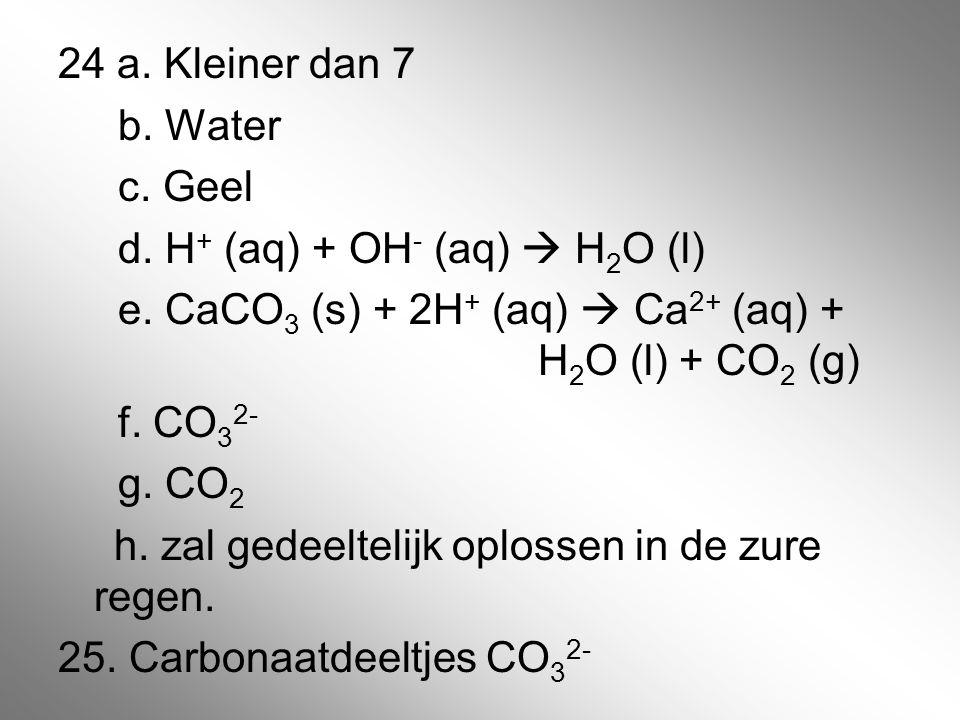 24 a. Kleiner dan 7 b. Water c. Geel d. H+ (aq) + OH- (aq)  H2O (l) e