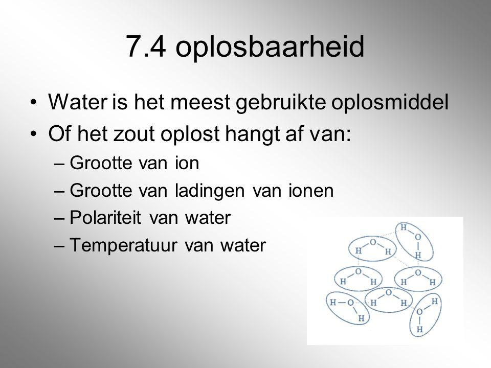 7.4 oplosbaarheid Water is het meest gebruikte oplosmiddel