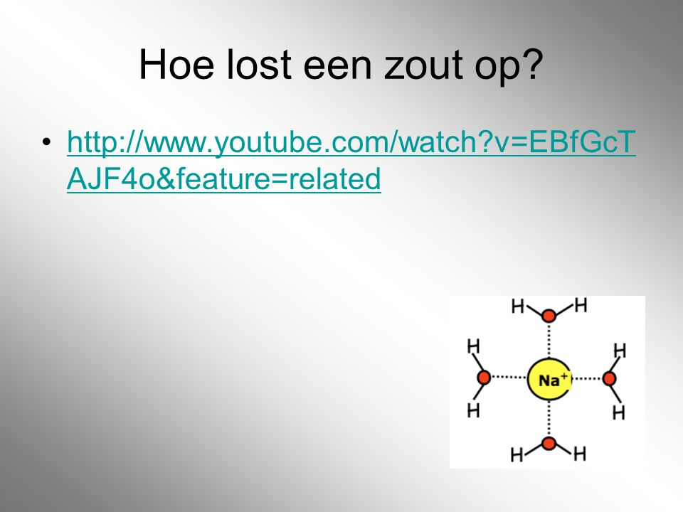 Hoe lost een zout op http://www.youtube.com/watch v=EBfGcTAJF4o&feature=related