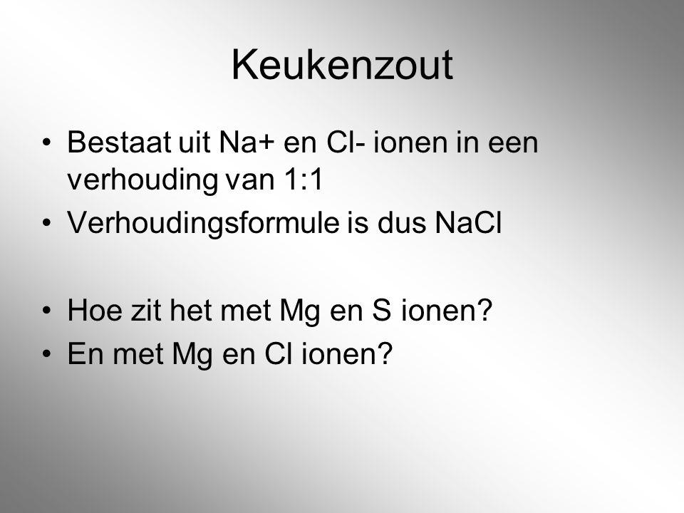Keukenzout Bestaat uit Na+ en Cl- ionen in een verhouding van 1:1