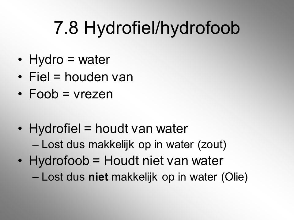 7.8 Hydrofiel/hydrofoob Hydro = water Fiel = houden van Foob = vrezen