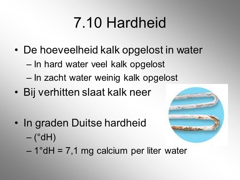 7.10 Hardheid De hoeveelheid kalk opgelost in water