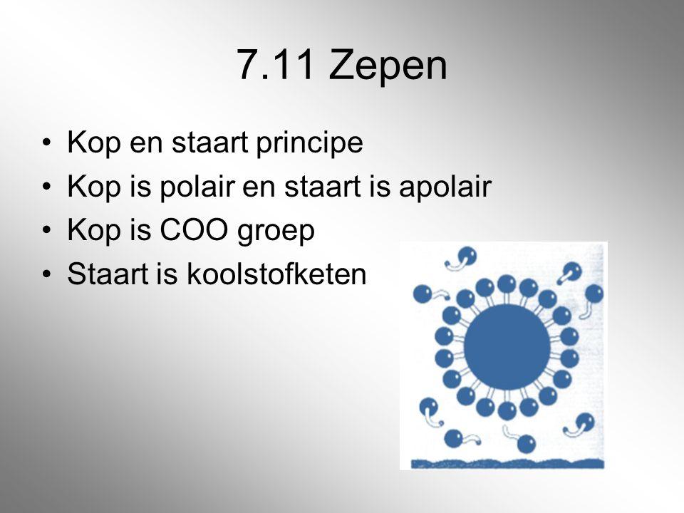 7.11 Zepen Kop en staart principe Kop is polair en staart is apolair
