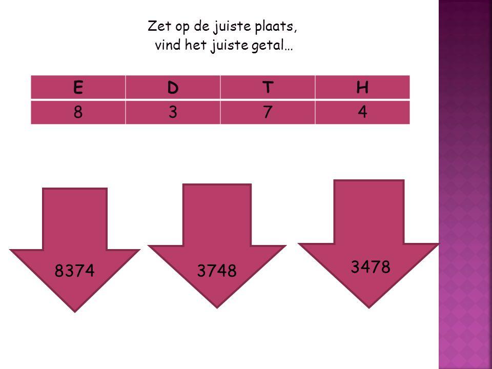 E D T H 8 3 7 4 3478 8374 3748 Zet op de juiste plaats,
