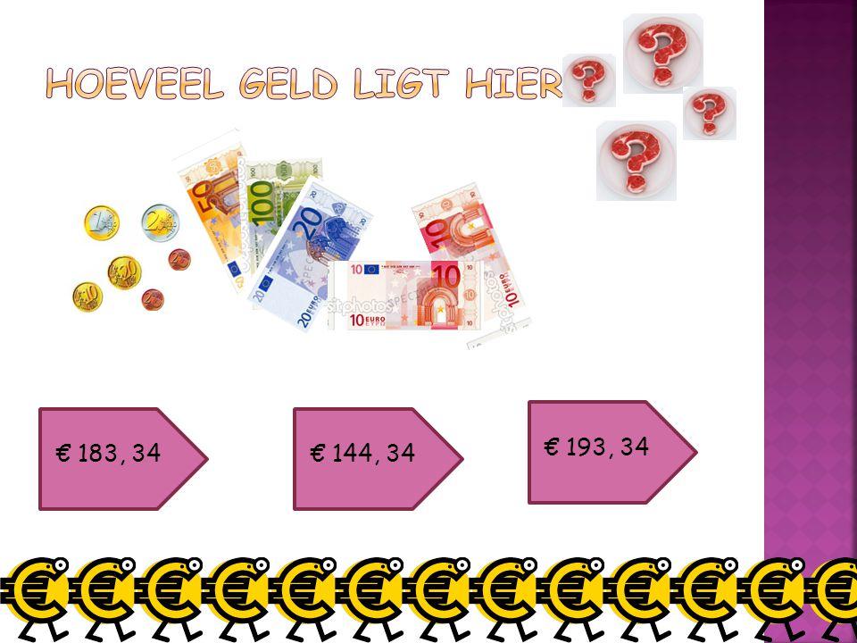 Hoeveel geld ligt hier € 193, 34 € 183, 34 € 144, 34