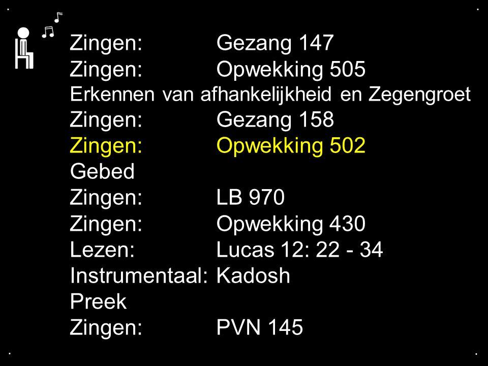 Instrumentaal: Kadosh Preek Zingen: PVN 145