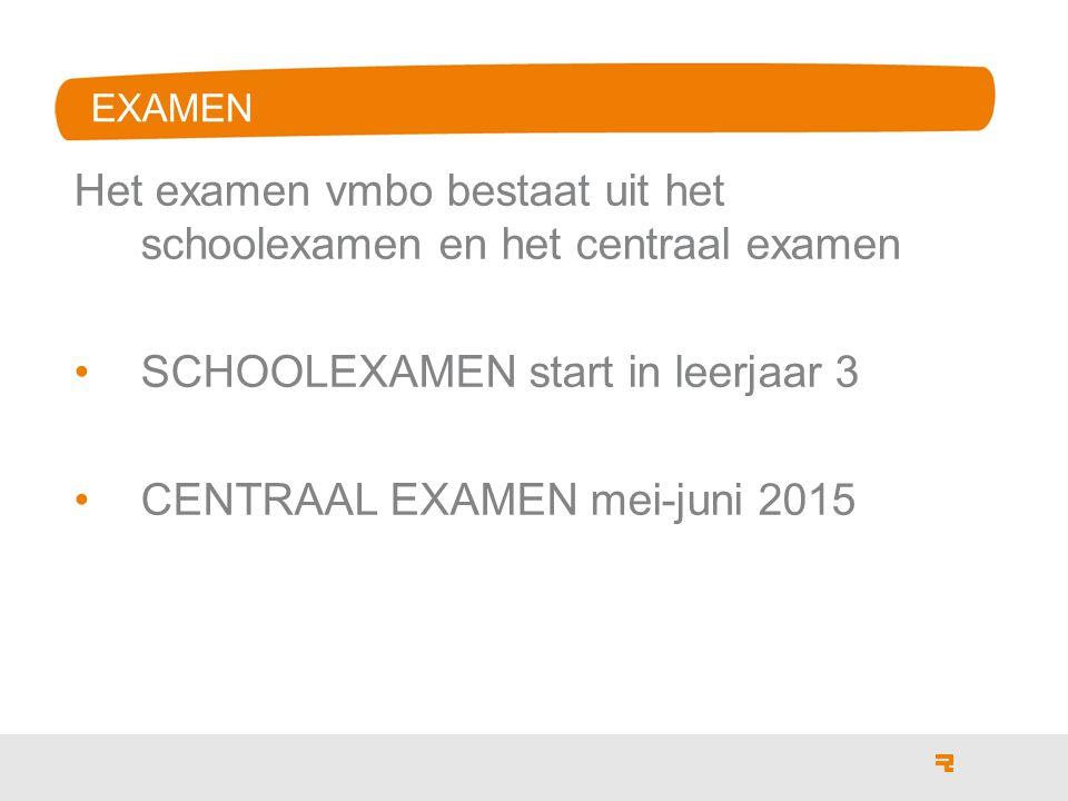 Het examen vmbo bestaat uit het schoolexamen en het centraal examen