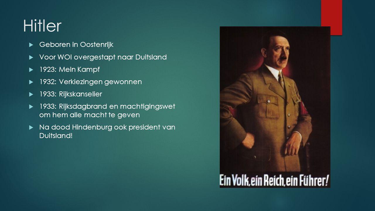 Hitler Geboren in Oostenrijk Voor WOI overgestapt naar Duitsland
