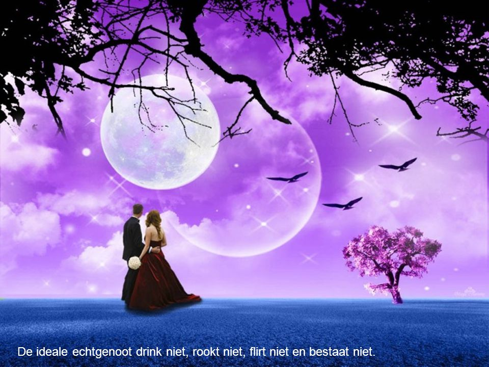 De ideale echtgenoot drink niet, rookt niet, flirt niet en bestaat niet.
