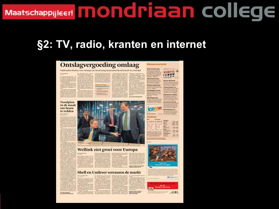 MASSAMEDIA §3: W§2: TV, radio, kranten en internet at voor Krant