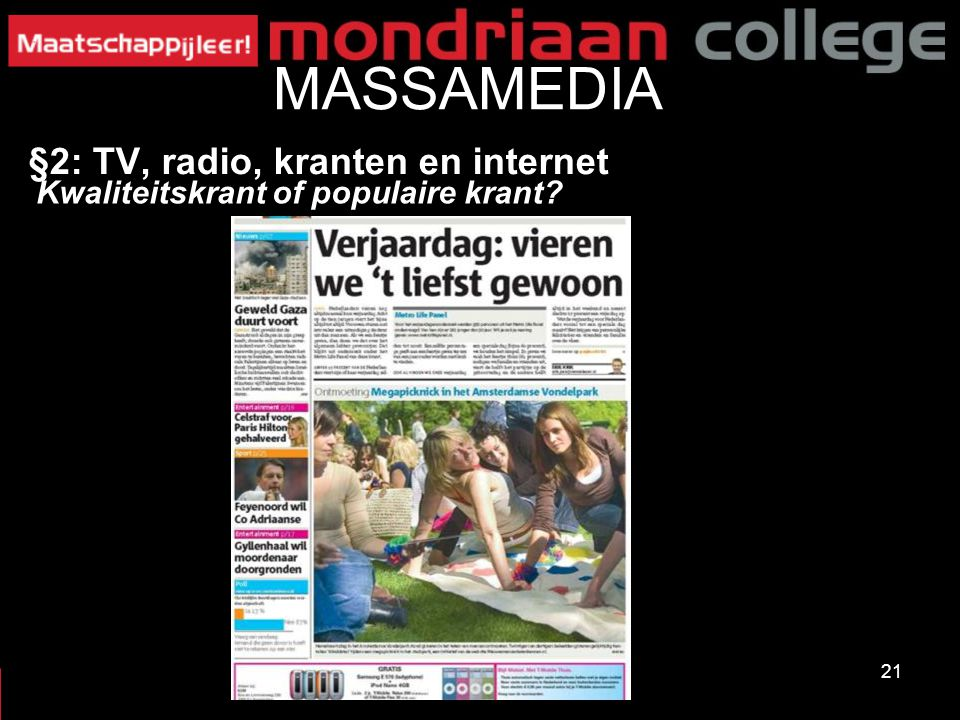 MASSAMEDIA §2: TV, radio, kranten en internet