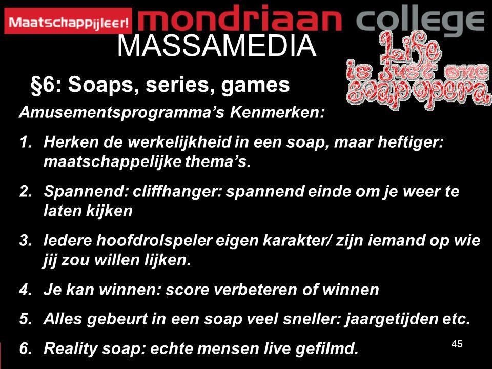 MASSAMEDIA §6: Soaps, series, games Amusementsprogramma's Kenmerken: