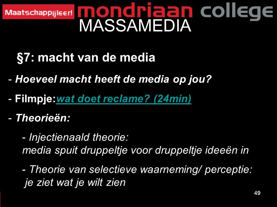 MASSAMEDIA §7: macht van de media Hoeveel macht heeft de media op jou