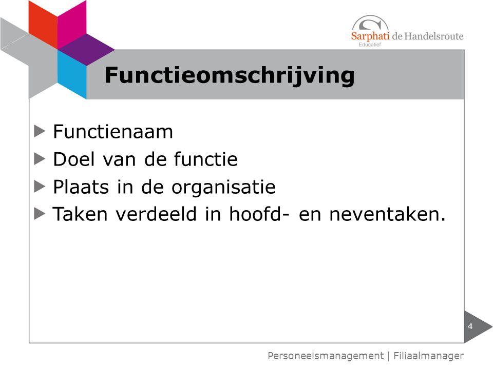 Functieomschrijving Functienaam Doel van de functie