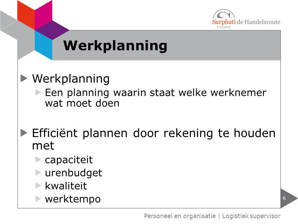 Werkplanning Werkplanning