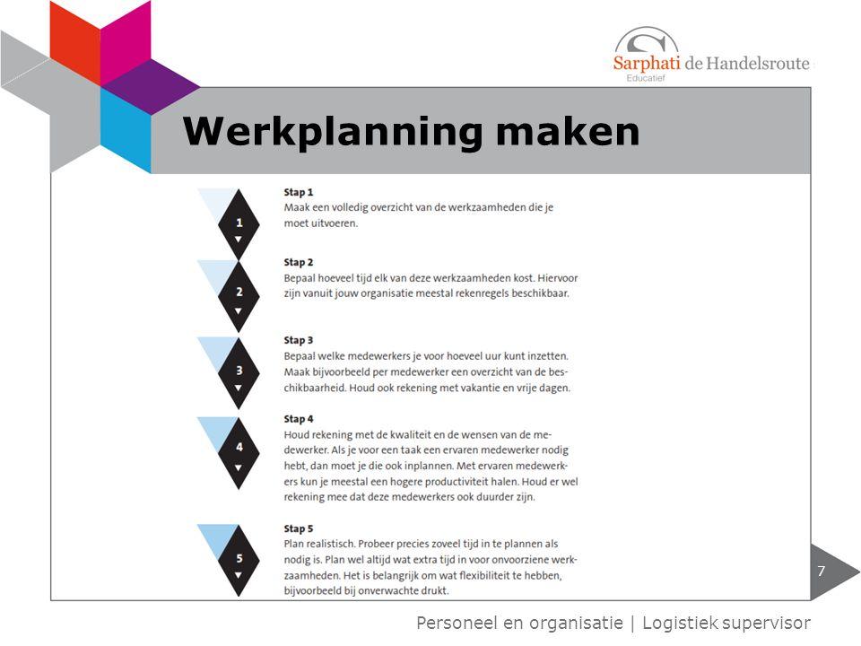 Werkplanning maken Personeel en organisatie | Logistiek supervisor