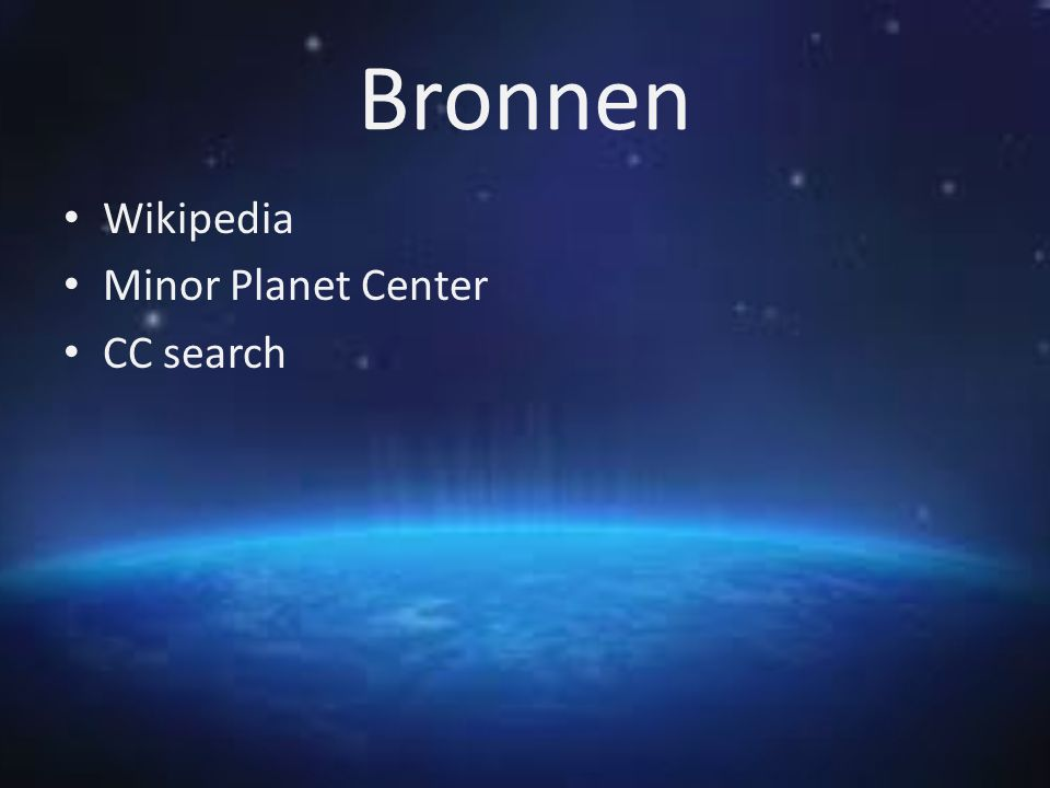 Bronnen Wikipedia Minor Planet Center CC search