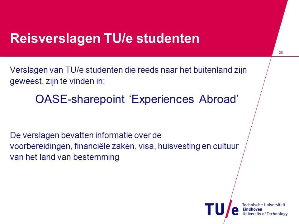 Reisverslagen TU/e studenten