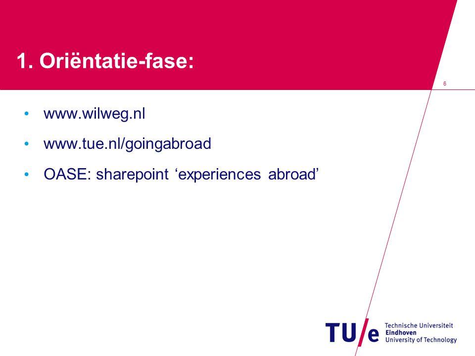 1. Oriëntatie-fase: www.wilweg.nl www.tue.nl/goingabroad