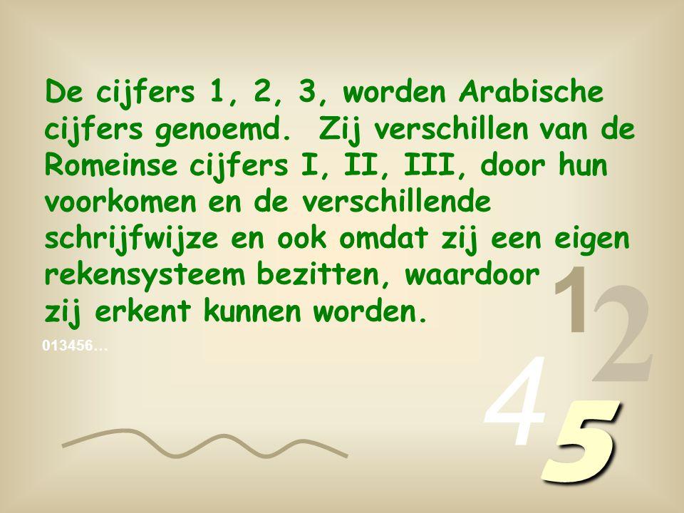 De cijfers 1, 2, 3, worden Arabische cijfers genoemd