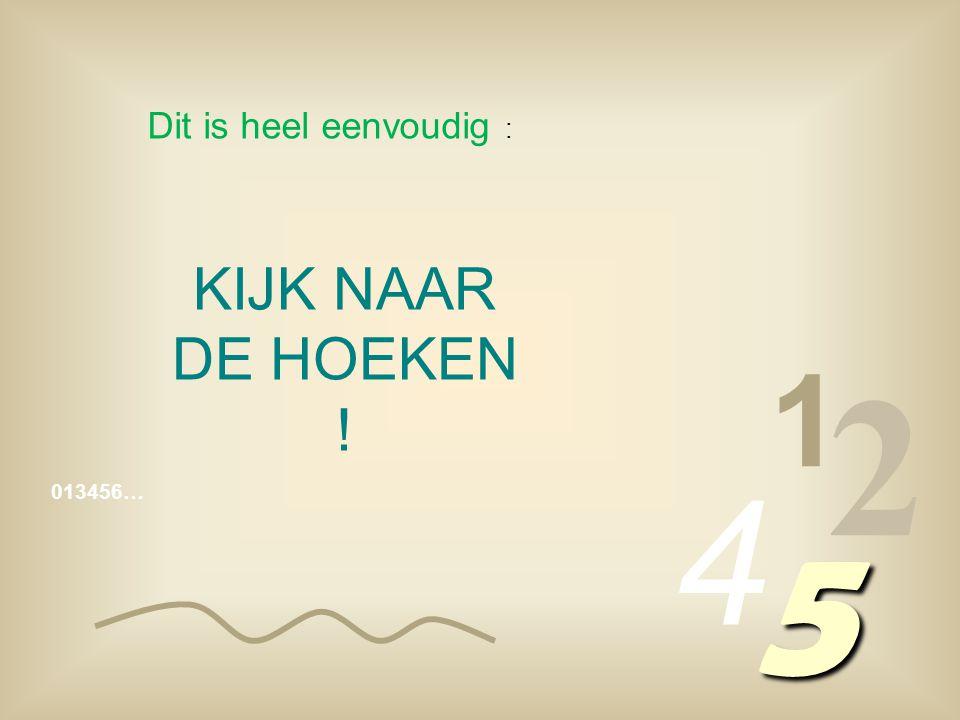 Dit is heel eenvoudig : KIJK NAAR DE HOEKEN ! 1 2 4 013456… 5