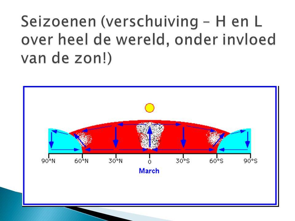 Seizoenen (verschuiving – H en L over heel de wereld, onder invloed van de zon!)