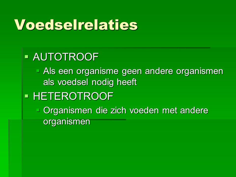 Voedselrelaties AUTOTROOF HETEROTROOF