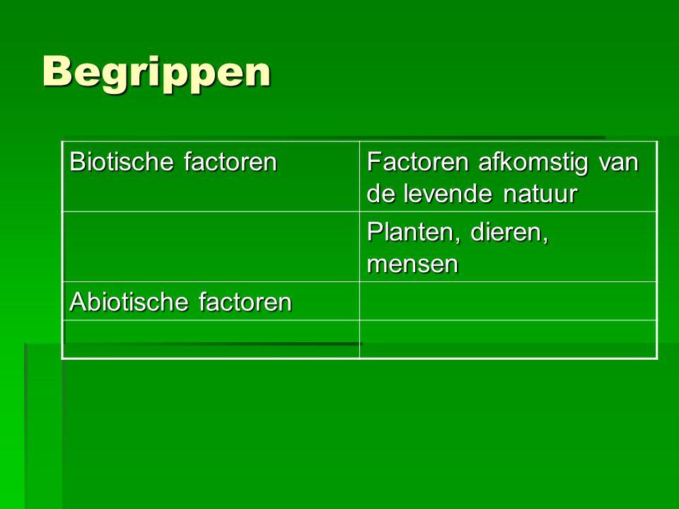 Begrippen Biotische factoren Factoren afkomstig van de levende natuur