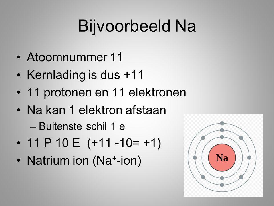 Bijvoorbeeld Na Atoomnummer 11 Kernlading is dus +11