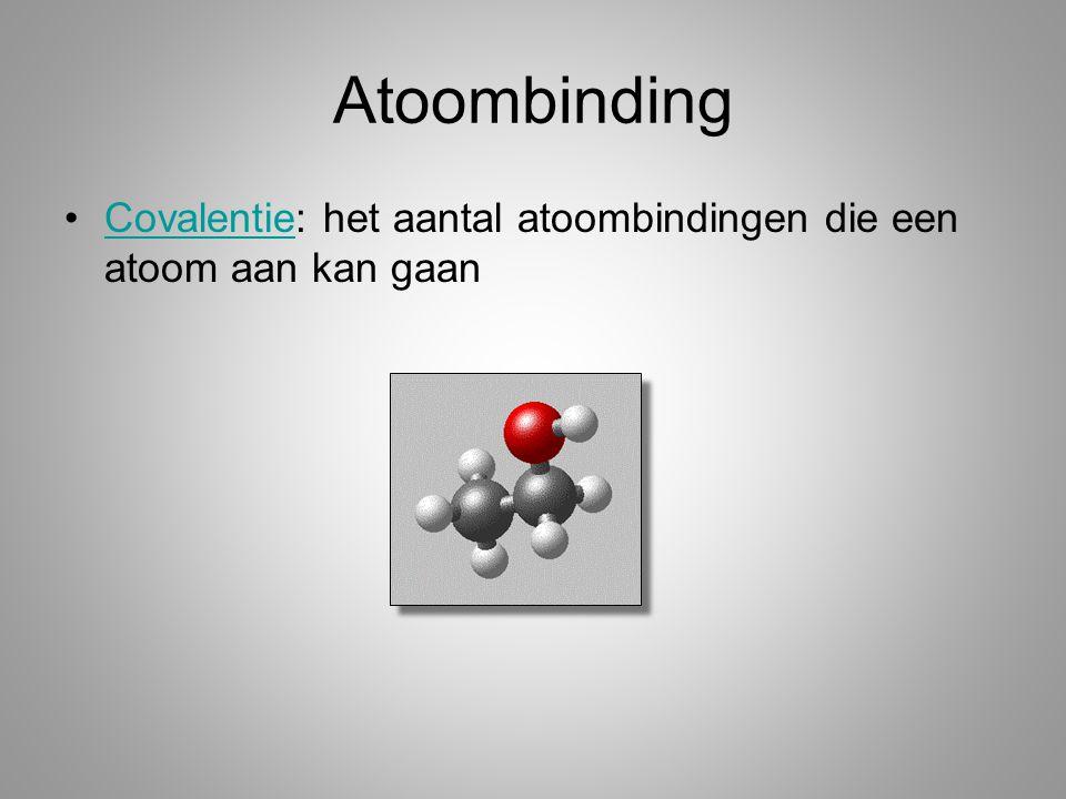 Atoombinding Covalentie: het aantal atoombindingen die een atoom aan kan gaan