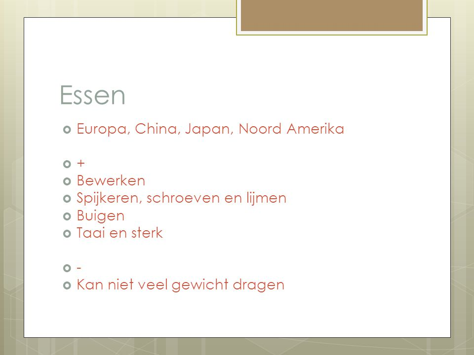 Essen Europa, China, Japan, Noord Amerika + Bewerken