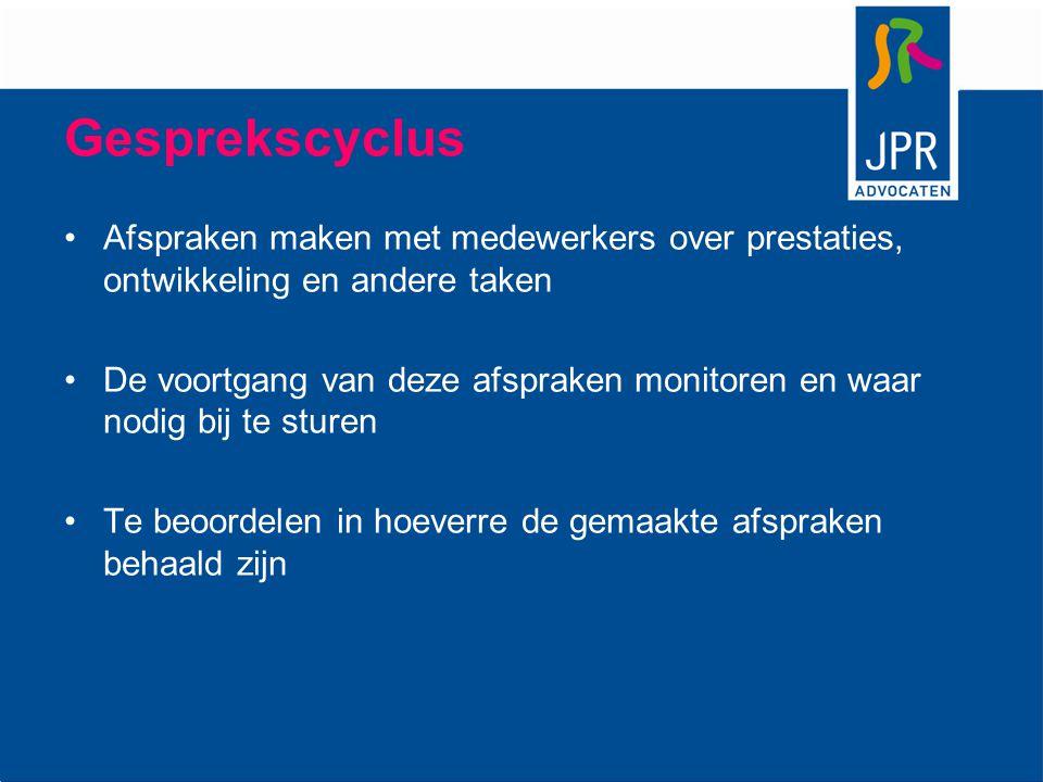 Gesprekscyclus Afspraken maken met medewerkers over prestaties, ontwikkeling en andere taken.