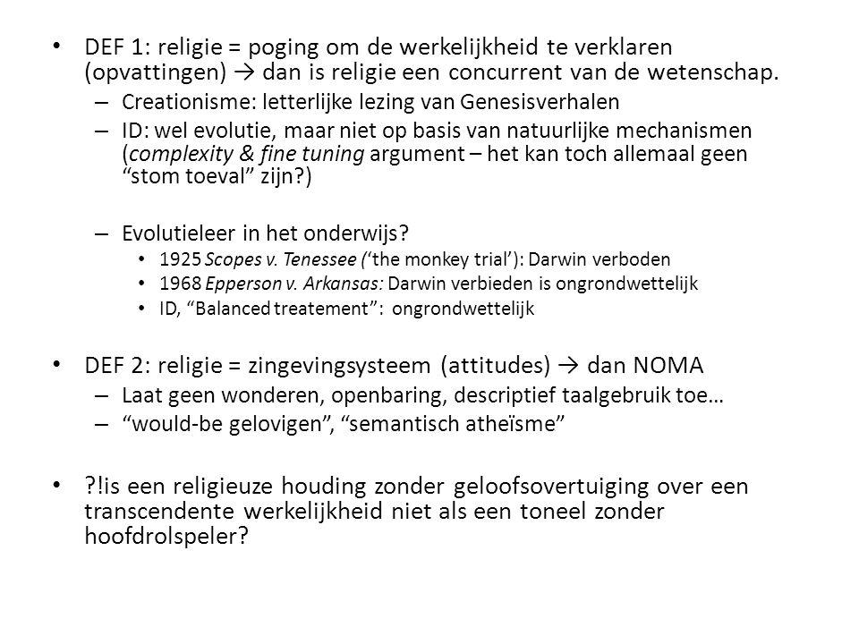 DEF 2: religie = zingevingsysteem (attitudes) → dan NOMA