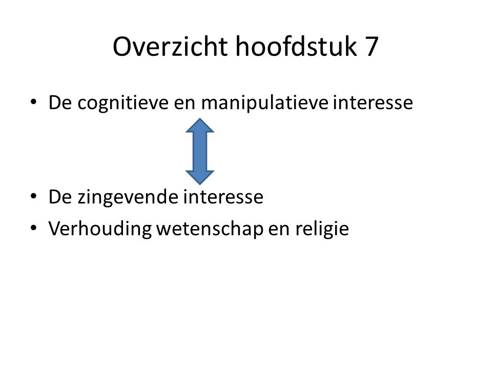 Overzicht hoofdstuk 7 De cognitieve en manipulatieve interesse